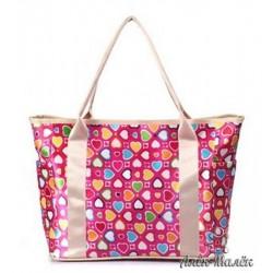 Сумочка для мами, сумка на дитячий візок (Сердечка на рожевому фоні)