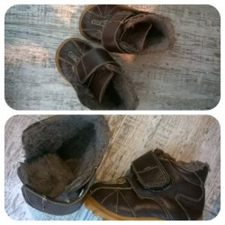 Ботиночки коричневые с мехом. 22 размер.Унисекс