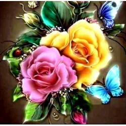 "Алмазна вишивка 30 х 30 см ""Троянди i метелики"""