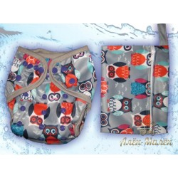 """Комплект: Багаторазові підгузники """"Водний світ"""" + Непромокальна сумочка для підгузків (Grey Owls)"""