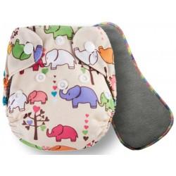 """Комплект: Угольный подгузник для новорожденных """"Pororo"""" 2-10 кг + угольный вкладыш 5 слоев (Elefants)"""