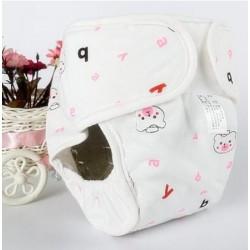 Хлопковые подгузники дышащие, водонепроницаемые, мягкие ( Pink Bear) Size L